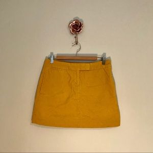 J. Crew Gold Corduroy Mini Skirt Size 4